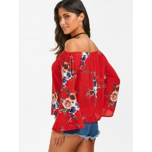 Off The Shouler Floral Flare Sleeve Blouse - RED M