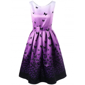 Butterfly Pattern Ombre Dress with Belt - Black And Purple - Xl