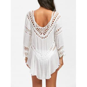 Crochet Panel Swing Beach Tunic Cover Up - White - One Size