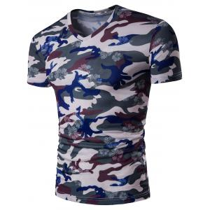 V Neck Floral Camouflage Tee - Wine Red - 5xl