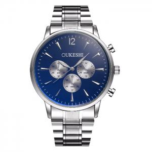 OUKESHI Metallic Strap Quartz Watch - Blue