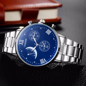 OUKESHI Steel Strap Roman Numeral Watch - BLUE
