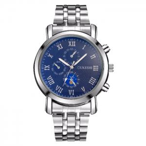 OUKESHI Alloy Strap Roman Numeral Watch - Blue - 9