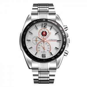 OUKESHI Alloy Strap Tachymeter Wrist Watch