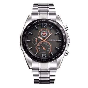 OUKESHI Alloy Strap Tachymeter Wrist Watch - Black