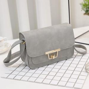 Faux Leather Metal Detail Crossbody Bag - GRAY