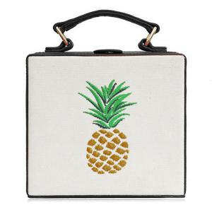Canvas Panel Pineapple Embroidered Across Body Bag - Black