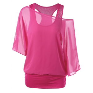 Racerback Skew Collar Tee - Rose Red - 2xl