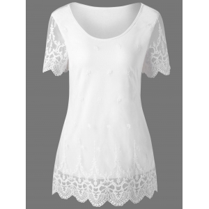 Lace Panel Scalloped Edge T-Shirt - White - M