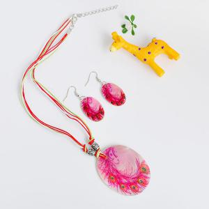 Peacock Feather Pattern Shell Necklace and Earrings -