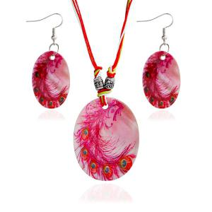 Peacock Feather Pattern Shell Necklace and Earrings - Red