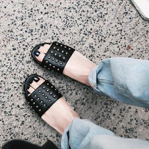 Faux Leather Studded Slippers -