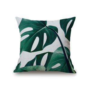 Plant Leaf Print Cushion Throw Pillow Case - Blackish Green - 45*45cm