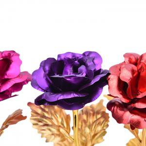 Valentine's Day Gift Artificial Plated Rose Flower - PURPLE