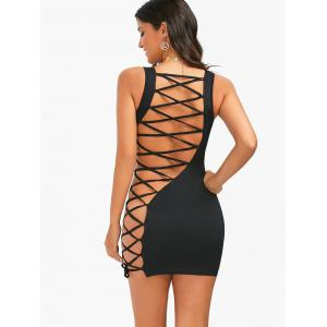 Open Back Lace-Up Tight Sleeveless Dress -