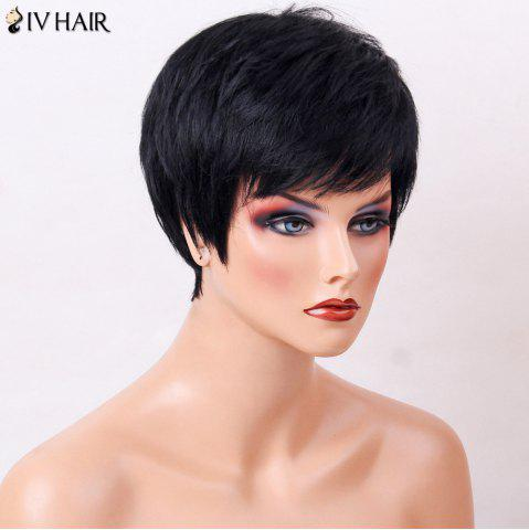 Sale Siv Hair Side Bang Straight Human Hair Short Layered Haircut Wig