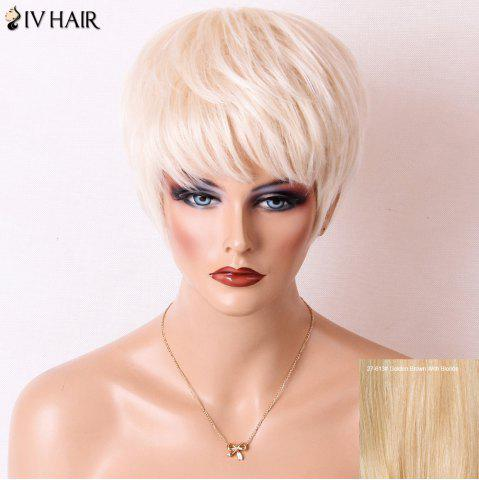 Siv Hair Short Layered Cut Full Bang Straight Human Hair Wig - Golden Brown With Blonde - 24inch