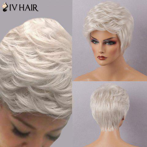 Affordable Siv Hair Short Layered Inclined Bang Fluffy Human Hair Wig - WHITE  Mobile