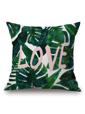 Chic Leaves Letter Print Linen Throw Pillow Case - 45*45CM BLACKISH GREEN Mobile