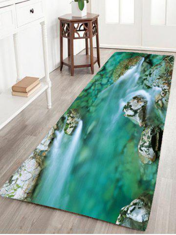 Hot Mountain Stream Water Flannel Antiskid Rug - W16 INCH * L47 INCH GREEN Mobile