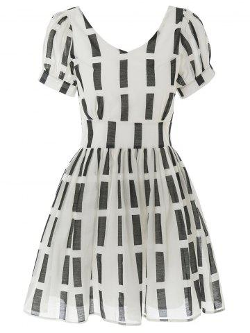 Outfits High Waist Geometric Print Mini Dress