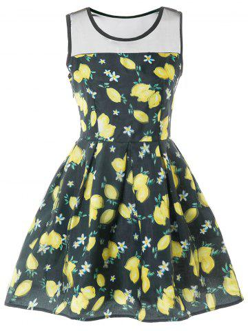 Fashion Sleeveless Mesh Insert Lemon Print Dress