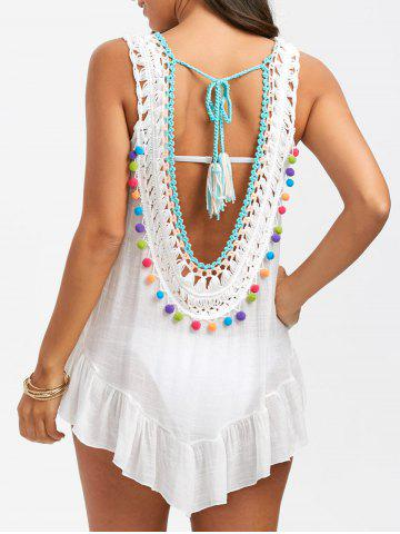 Cheap Sleeveless Tassel Crochet Cover Up WHITE ONE SIZE