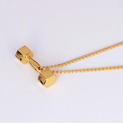 Fashion Power Fitness Barbell Pendant Necklace - GOLDEN  Mobile