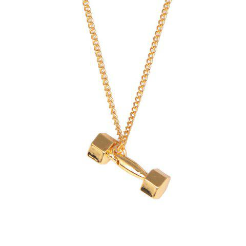Outfits Power Fitness Barbell Pendant Necklace - GOLDEN  Mobile