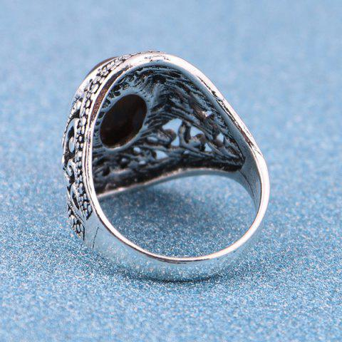 Fashion Artificial Gem Vintage Ring - 8 SILVER Mobile