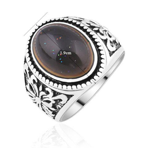 Outfit Artificial Gem Engraved Crucifix Ring - 9 SILVER Mobile