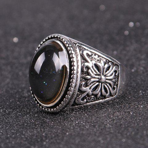 Fashion Artificial Gem Engraved Crucifix Ring - 9 SILVER Mobile