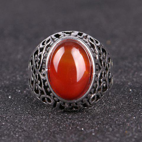 Chic Faux Ruby Vintage Ring - 8 SILVER Mobile