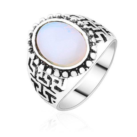 Trendy Faux Opal Vintage Ring - 8 SILVER Mobile