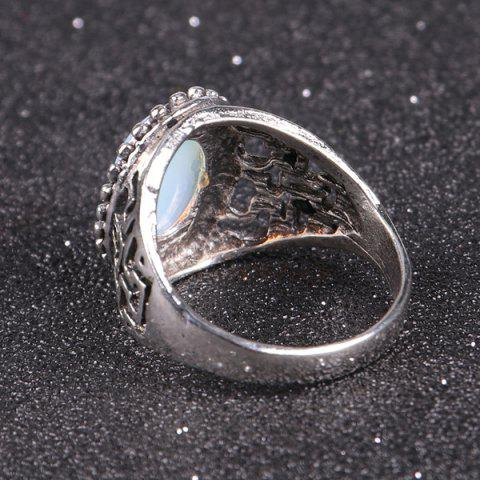 Chic Faux Opal Vintage Ring - 9 SILVER Mobile