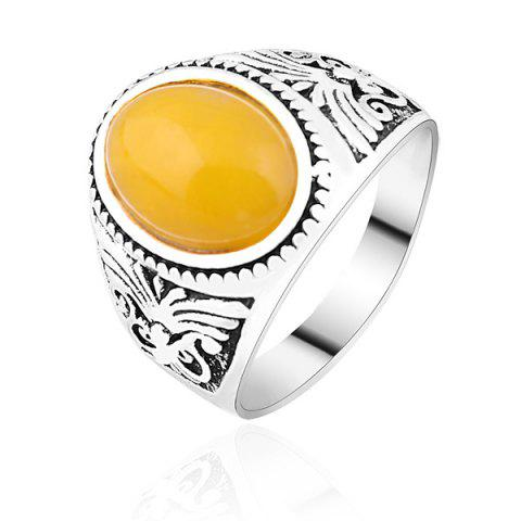 Unique Faux Gemstone Vintage Ring - 8 SILVER Mobile