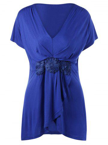 Outfit Plus Size Stereo Flower Overlap V Neck T-Shirt BLUE 2XL