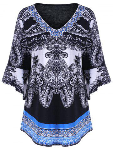 Plus Size Paisley Graphic Bell Sleeve Tee - Black - 2xl
