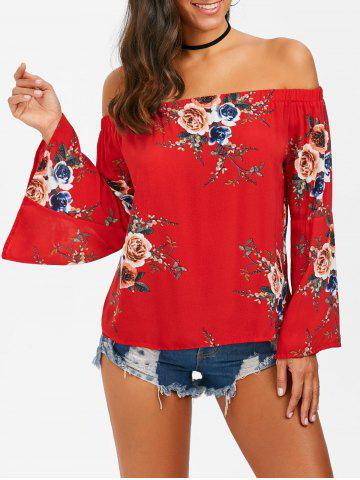 Chic Off The Shoulder Floral Flare Sleeve Blouse - M RED Mobile