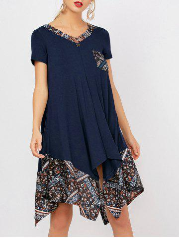 Buy V Neck Print Panel Tunic Dress - Purplish Blue 2XL