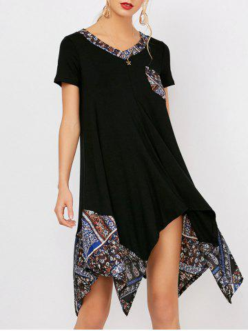 Loose V Neck Print Panel Tunic Dress With Sleeves - Black - S