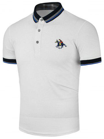 Buy Stripe Horse Embroidered Polo Shirt - White 4XL