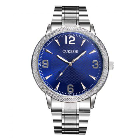 OUKESHI Steel Strap Wrist Quartz Watch - Blue