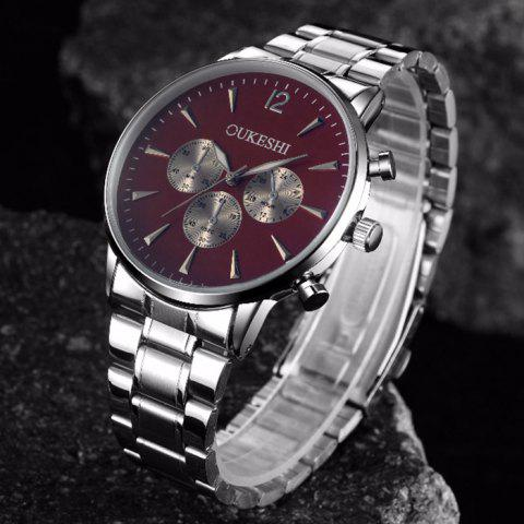 Online OUKESHI Metallic Strap Quartz Watch - RED  Mobile