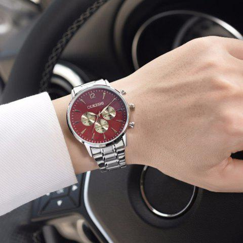 Trendy OUKESHI Metallic Strap Quartz Watch - RED  Mobile