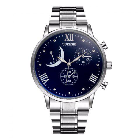 Shop OUKESHI Steel Strap Roman Numeral Watch BLUE