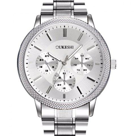Unique OUKESHI Metallic Strap Analog Wrist Watch - WHITE  Mobile