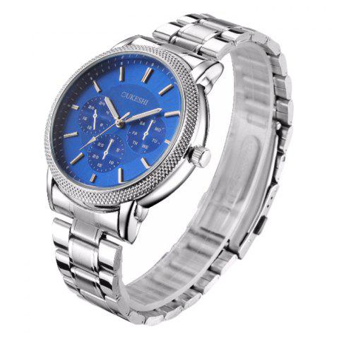 Unique OUKESHI Metallic Strap Analog Wrist Watch - BLUE  Mobile