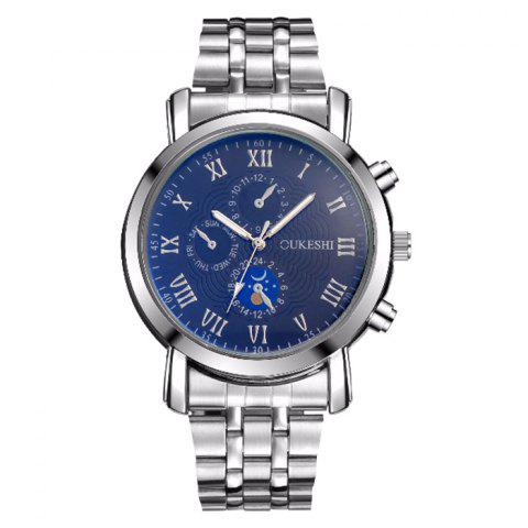 Best OUKESHI Alloy Strap Roman Numeral Watch BLUE