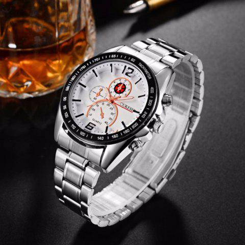 Fancy OUKESHI Alloy Strap Tachymeter Wrist Watch - WHITE  Mobile